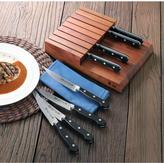 Cangshan V2 Series 8-Piece Steel Forged Steak Knife Set with Solid Acacia Wood Block