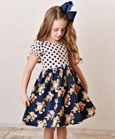 Oopsie Daisy Girls' Casual Dresses Coral/Navy - Coral & Navy Blue Polka Dot & Floral A-Line Dress - Toddler & Girls