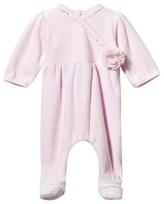 Emile et Rose Pale Pink Velour Rosette Babygrow