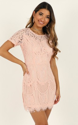 Showpo Delayed Response dress in blush lace - 6 (XS) Going Out Outfits