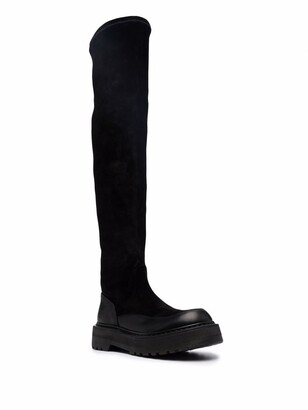 Premiata Over-The-Knee Leather And Suede Boots