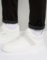 Asos Mid Top Sneakers in White With Perforated Strap