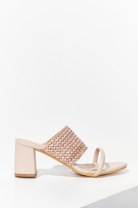 Nasty Gal Womens The Path We've Woven Faux Leather Block Heels - Beige - 3
