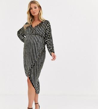 ASOS DESIGN Maternity stripe embellished midi dress with batwing sleeve