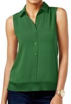 Michael Kors Green Women's Size XS High-Low Button Down Shirt