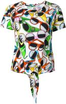 Moschino sunglasses print tied T-shirt - women - Cotton/Spandex/Elastane - XS