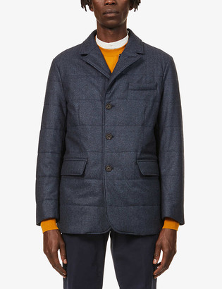 Canali Ribbed single-breasted wool blazer