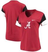 Nike Women's Crimson/Black Alabama Crimson Tide Breathe Team Sleeve Performance V-Neck T-Shirt