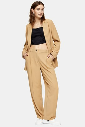 Topshop Womens Camel Twill Suit Peg Trousers - Camel
