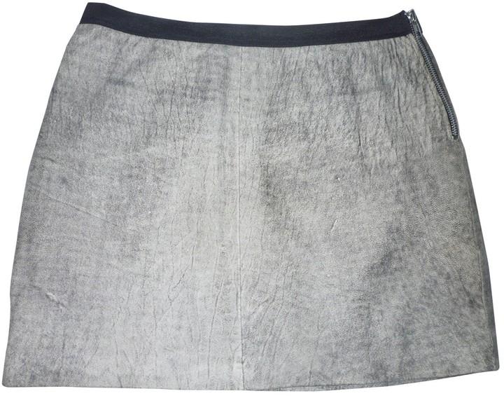 Sandro Grey Leather Skirt for Women