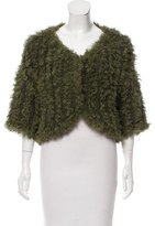 Philosophy di Alberta Ferretti Shearling-Trimmed Wool Cardigan w/ Tags