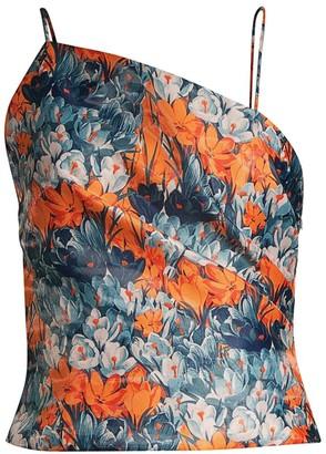 Flor Et. Al Lenora Floral Print Asymmetrical Top