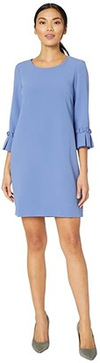 Tahari ASL Stretch Crepe A-Line Shift with Pleat Sleeve Detail (Dark Periwinkle) Women's Dress