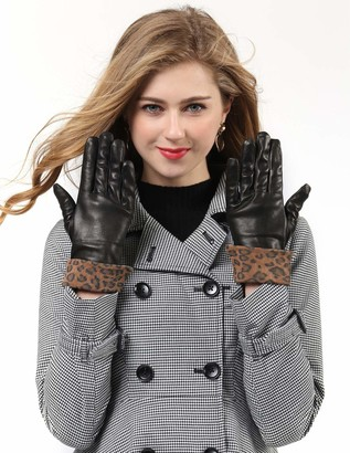 YISEVEN Women Touchscreen Sheepskin Fashion Leather Gloves Cuffed Wool Lined Sexy for Winter Warm Elegant Motorcycle Outdoor Driving gift Brown Large