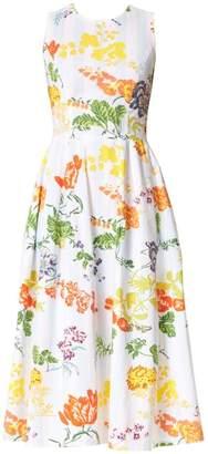 Carolina Herrera Sleeveless Floral A-Line Dress