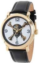 """Disney Pirates of the Caribbean """"Skull and Crossbones"""" Goldtone Black Leather Strap Watch"""