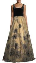 Jovani Sleeveless Scoop-Neck Velvet Beaded Tulle Evening Gown