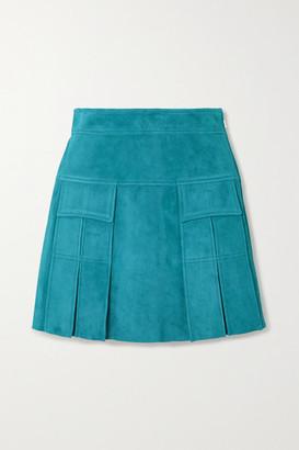Prada Pleated Suede Mini Skirt - Turquoise