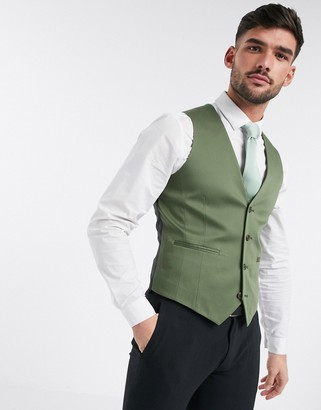 ASOS DESIGN super skinny cotton suit vest in olive green
