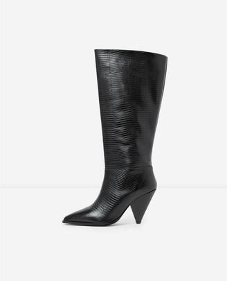 The Kooples Snakeskin-effect heeled black boots