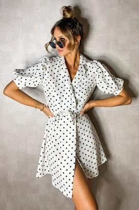 boohoo Polka Dot Puff Shoulder Wrap Dress