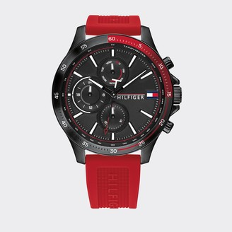 Tommy Hilfiger Ion-Plated Watch With Red Silicone Strap