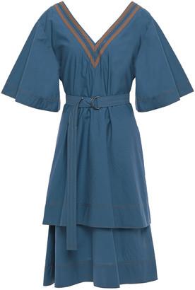 Brunello Cucinelli Belted Bead-embellished Cotton-blend Poplin Dress