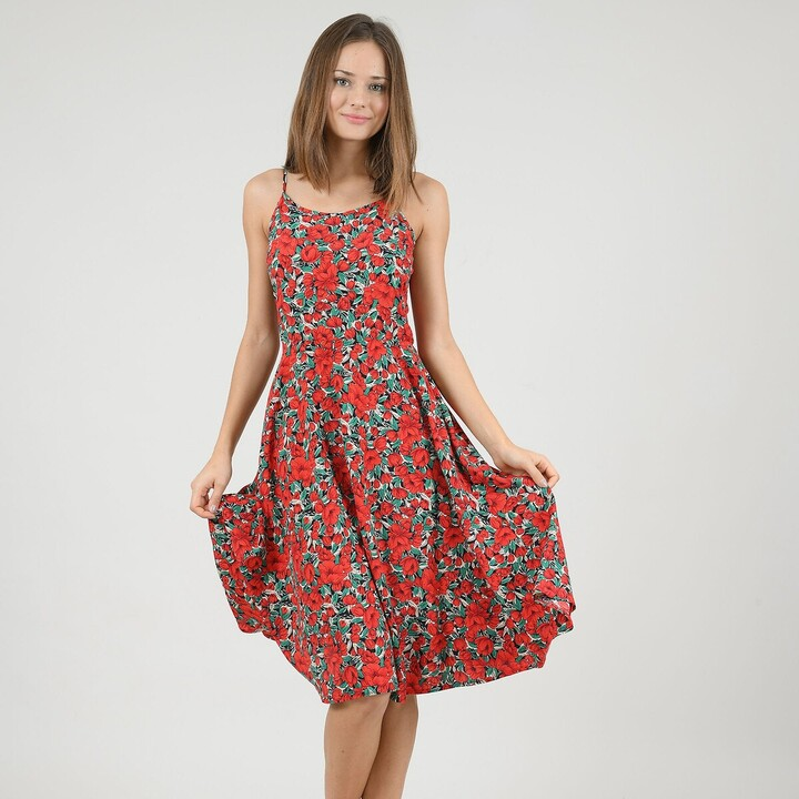 Molly Bracken Floral Print Midi Dress with Shoestring Straps and Lace-Up Back