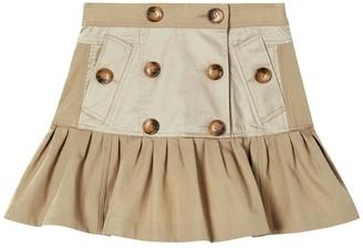 Burberry Buttoned Cotton Gabardine Skirt