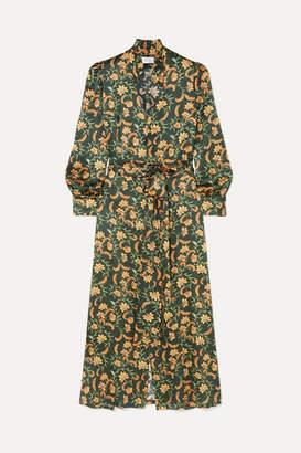 Olga Seren Tie-waist Silk-satin Midi Dress - Dark green