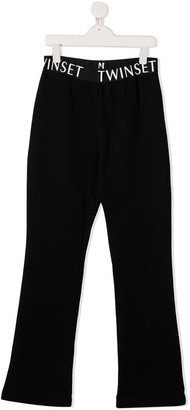 Twin-Set TEEN wide-leg cotton trousers