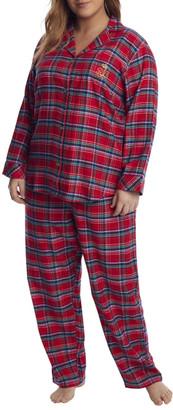 Lauren Ralph Lauren Plus Size Red Plaid Brushed Twill Pajama Set