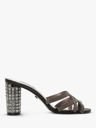 Dune Marida Diamante Embellished High Block Heel Sandals, Black
