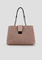 Emporio Armani Tote Bag In Quilted Faux Nappa Leather With Teardrop Motif