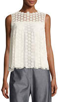 Elie Tahari Dionne Sleeveless Cotton Lace Blouse, Antique White