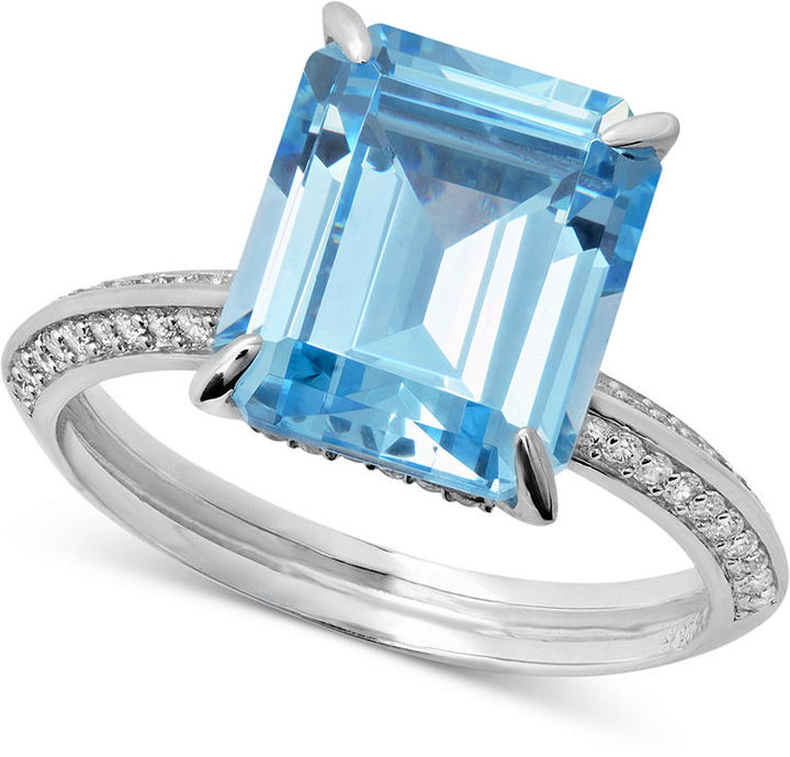 Crislu Ring, Platinum Over Sterling Silver Aquamarine Cubic Zirconia Ring (6-1/4 ct. t.w.)
