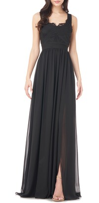 Theia Love by Lace Trim Chiffon Gown