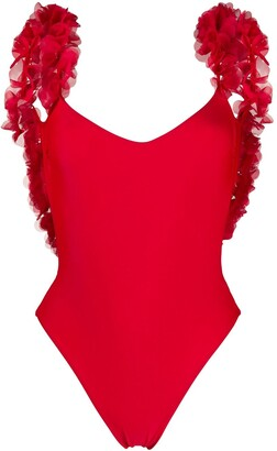 La Reveche Amiral ruffled-flower plunge-back swimsuit