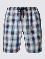 M&s Collection Pure Cotton Checked Pyjama Shorts