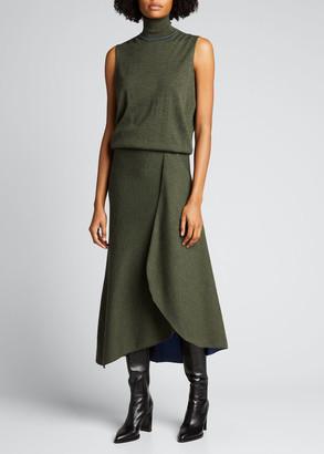 Victoria Beckham Bicolor Blouson High-Low Dress