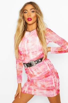 boohoo Mesh Tie Dye Ruched Bodycon Mini Dress