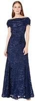 Tahari ASL Short Sleeve Burnout Velvet Gown with Draped Neckline (Navy Burnout Floral) Women's Clothing