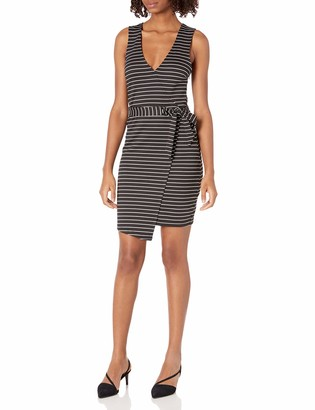 Jack by BB Dakota Junior's Toni Stripe Ponte Asymetrical Wrap Dress