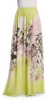 Roberto Cavalli Kimono Floral-Print Long Skirt, Yellow/Pink