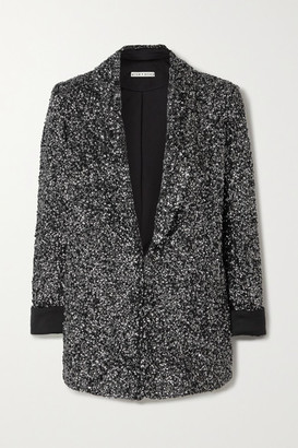 Alice + Olivia Jace Sequined Silk-satin Blazer - Silver