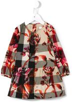 Burberry checked floral dress - kids - Cotton - 12 mth