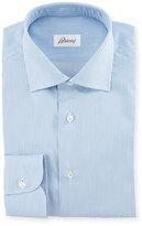 Brioni Micro-Striped Woven Dress Shirt, Blue