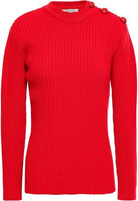 Nina Ricci Button-detailed Ribbed Wool-blend Sweater