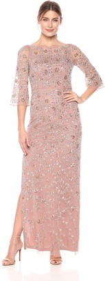 Aidan Mattox Aidan Women's Long Sleeve Beaded Gown
