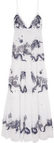 Roberto Cavalli Embroidered Cotton-voile Maxi Dress - White